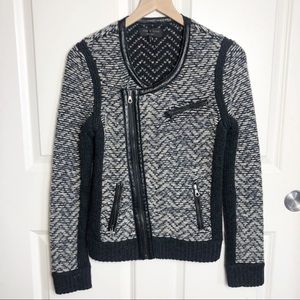 Rag and Bone Samantha Moto Sweater Jacket Black S
